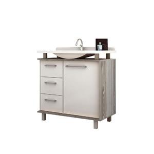Gabinete de Banheiro Sem Espelho Alegro MDP Branco/Noce Sem Cuba Mezzaroba