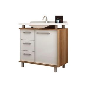 Gabinete de Banheiro Sem Espelho Alegro MDP Branco/Nogal Sem Cuba Mezzaroba