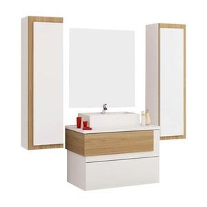 Gabinete de Banheiro Sem Espelho Aludra MDF Munique Com Cuba Cerocha
