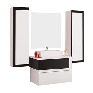 Gabinete de Banheiro Sem Espelho Aludra MDF Preto Com Cuba Cerocha