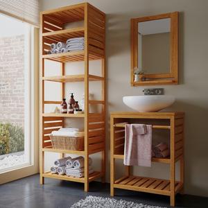 Gabinete de Banheiro Aquiles 75x57x39cm Jatobá Mão & Formão