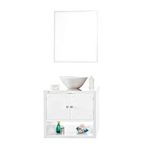 Gabinete de Banheiro Sem Espelho Cristallo MDF e MDP Branco Sem Cuba Harpex