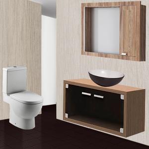 Gabinete de Banheiro Duna Glass 40x81,4x40,3cm Noce e Fumê Gaam