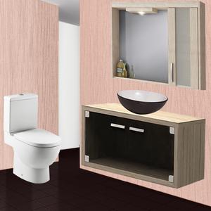 Gabinete de Banheiro Duna Glass cm Grigio e Fumê Gaam