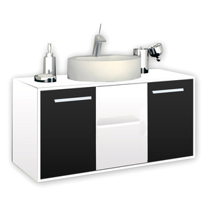 Gabinete de Banheiro  Exclusive  Branco/Preto P/Cuba Sobrepor Gaam
