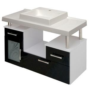 Gabinete de Banheiro sem Espelho Lages MDF Branco/Preto com Cuba Moldada Darabas