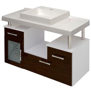 Gabinete de Banheiro sem Espelho Lages MDF Branco/Tabaco com Cuba Moldada Darabas
