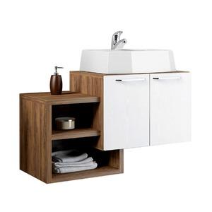Gabinete de Banheiro Sem Espelho Living MDP Ameixa/Branco Sem Cuba Mezzaroba