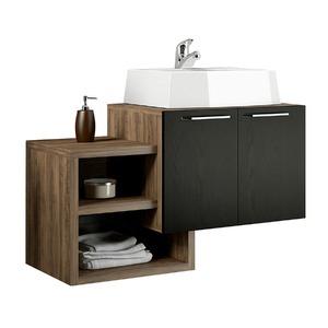 Gabinete de Banheiro Sem Espelho Living MDP Ameixa/Preto Sem Cuba Mezzaroba