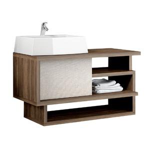 Gabinete de Banheiro Sem Espelho Living MDP Ameixa/Trama Sem Cuba Mezzaroba