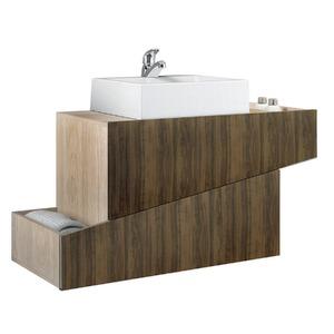 Gabinete de Banheiro Sem Espelho Living MDP Tirol/Ameixa Sem Cuba Mezzaroba