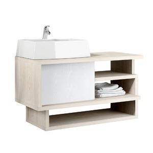 Gabinete de Banheiro Sem Espelho Living MDP Tirol/Branco Sem Cuba Mezzaroba