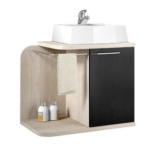 Gabinete de Banheiro Sem Espelho Living MDP Tirol/Preto Sem Cuba Mezzaroba