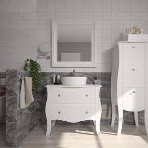 Gabinete de Banheiro Madeira 140x50x39cm Branco Classe P&C Artemobili