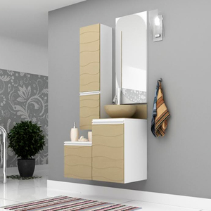 Gabinete de Banheiro Madeira 40x45x42cm Branco e Fendi Marsala Mazzu