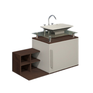 Gabinete de Banheiro Madeira Branco e Nogueira 42x40x80cm Vintage Policlass