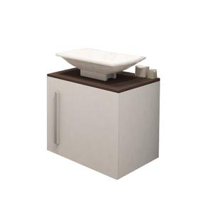 Gabinete de Banheiro Madeira Branco e Nogueira 42x48x40,5 Notável Policlass