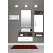 Gabinete de Banheiro Madeira Branco e Amêndoa 42x60x42cm Gold 60 Fabribam