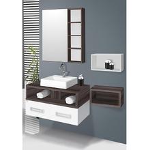 Gabinete de Banheiro Madeira Branco e Amêndoa 42x78x42cm Gold 80 Fabribam