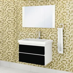 Gabinete de Banheiro Madeira Branco e Preto 44,50x60x44cm Premium Sicmol