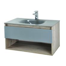 Gabinete de Banheiro Madeira 44,5x80x44cm Cinza Claro e Cinza Morrice 80 Bergan