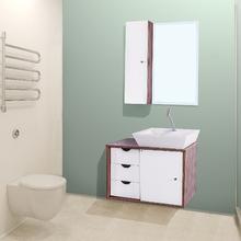 Gabinete de Banheiro Madeira Rústico Ébano 44x64x40cm Safira FermarScalline