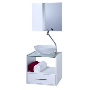 Gabinete de Banheiro Madeira Branco 45x50x45cm  Space 50 Astral Design