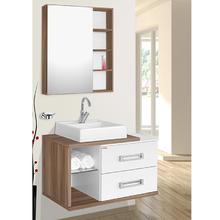 Gabinete de Banheiro Madeira Branco e Nogal 46x78x42cm Lótus 80 Fabribam