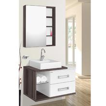 Gabinete de Banheiro Madeira Brango e Nogal 46x78x42cm Lótus 80 Fabribam