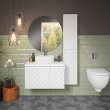 Gabinete de Banheiro Madeira 46x80x40cm Branco Monaco Darabas Agardi