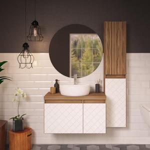 Gabinete de Banheiro Madeira 46x80x40cm Terracota com Branco Monaco Darabas Agardi