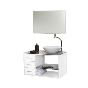 Gabinete de Banheiro Madeira Branco 46x80x45cm Tamar 80 Astral Design
