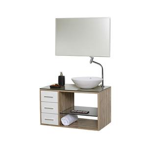 Gabinete de Banheiro Madeira Teca e Branco 46x80x45cm Tamar 80 Astral Design
