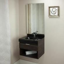 Gabinete de Banheiro Madeira 48x50x40cm Cinza Escuro e Preto Lille 50 Bergan