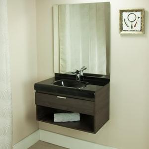 Gabinete de Banheiro Madeira 48x70x40cm Cinza Escuro e Preto Lille 70 Bergan