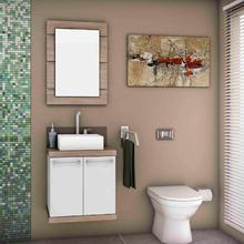 Gabinete de Banheiro Madeira 50x51x42cm Branco e Cerezo Petra Mazzu