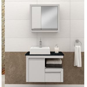 Gabinete para banheiro zafira suspenso 50x70x40cm branco for Miroir 50 x 70 leroy merlin