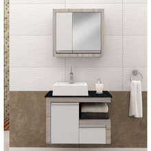 Gabinete de Banheiro Madeira 50x70x40cm Branco e Grigio Zafira Suspenso Gaam