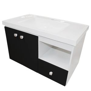 Gabinete de Banheiro Madeira 50x80x43 Branco e Preto Sicmol