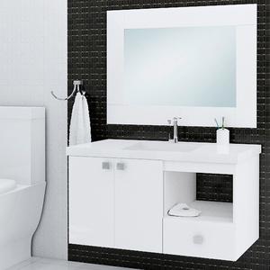 Gabinete de Banheiro Madeira Branco 50x80x43cm  Sicmol