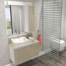Gabinete de Banheiro Madeira 50x89x43cm Branco e Fendi Massimo Mazzu