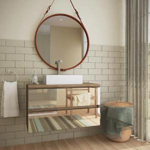 Gabinete de Banheiro Madeira 52x60x38cm Terracota Nazca Darabas Agardi