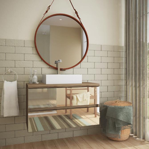 Gabinete de Banheiro Madeira 52x80x38cm Terracota Nazca Darabas Agardi
