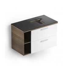 Gabinete de Banheiro Madeira 52x80x46cm Glass Branco e Wengue Celite
