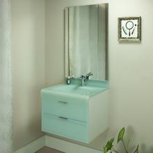 Gabinete de Banheiro Madeira 53x60x46cm Branco e Branco Esverdeado Adrien 60 Bergan