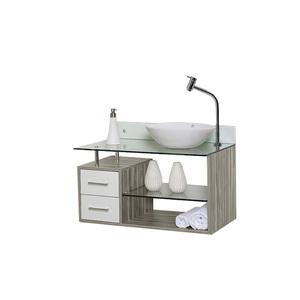 Gabinete de Banheiro Madeira Fresno Claro e Branco 53x63x45cm  Fiesta 80 Astral Design
