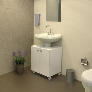 Gabinete de Banheiro Madeira Branco 54x50x40,5 Turin Policlass