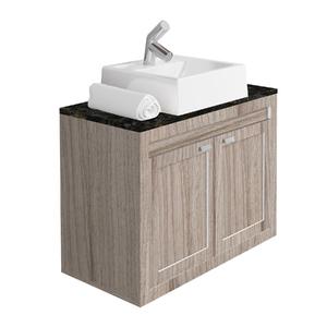 Gabinete de Banheiro Madeira Grigio e Branco 55,5x77x40cm Argos Gaam