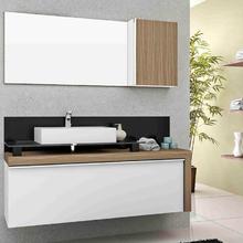 Gabinete de Banheiro Madeira 55x120x43cm Branco e Nogueira Cristalo Mazzu