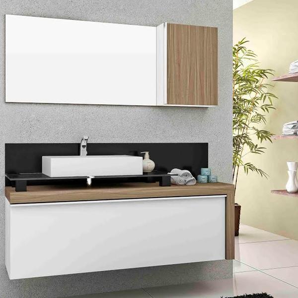Gabinete para banheiro cristalo 55x120x43cm branco e - Armarios de 120 cm ...